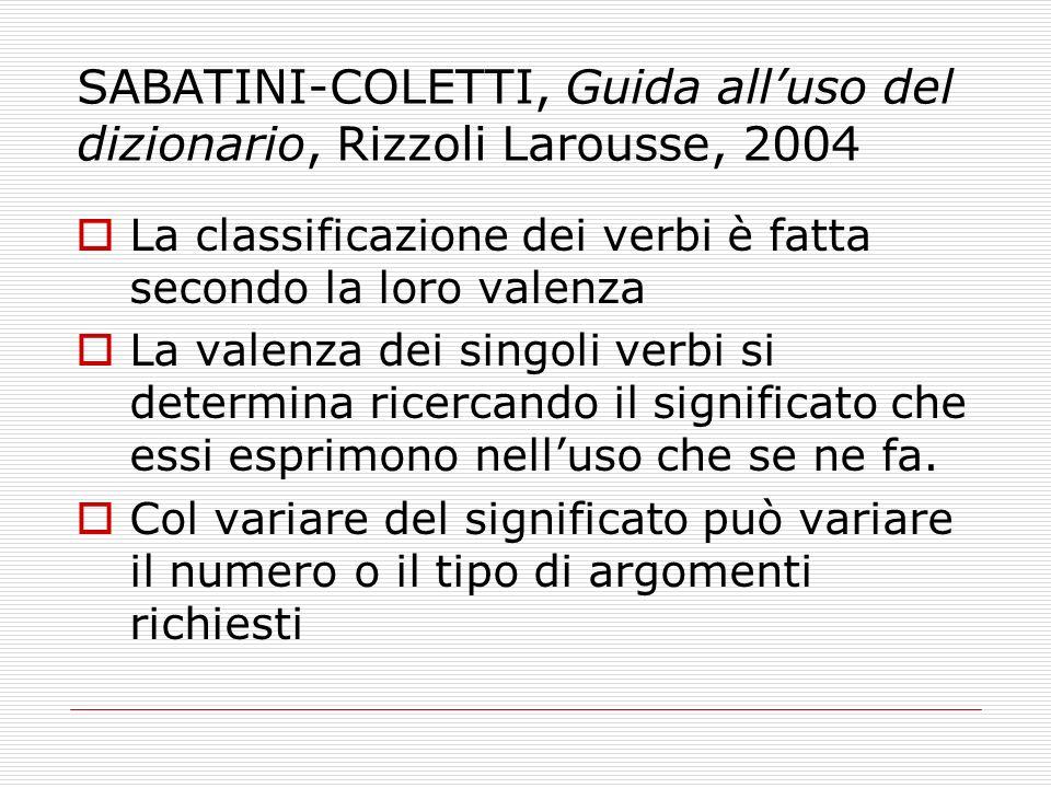 SABATINI-COLETTI, Guida alluso del dizionario, Rizzoli Larousse, 2004 La classificazione dei verbi è fatta secondo la loro valenza La valenza dei sing