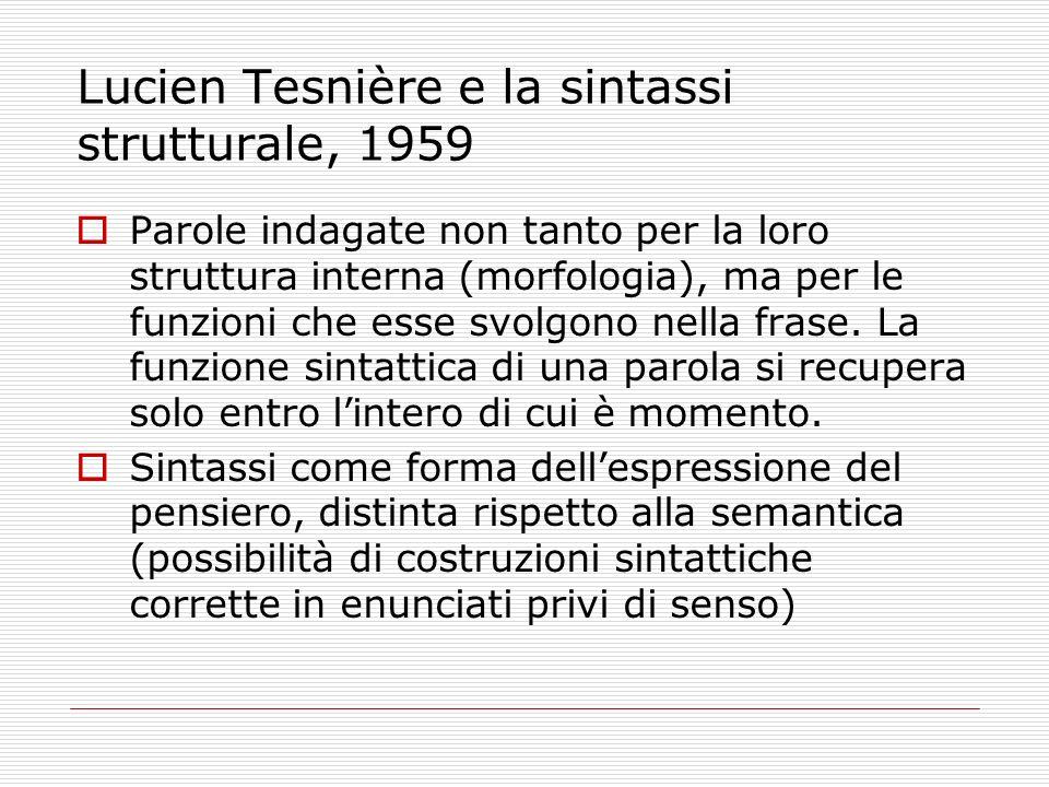 Lucien Tesnière e la sintassi strutturale, 1959 Parole indagate non tanto per la loro struttura interna (morfologia), ma per le funzioni che esse svol