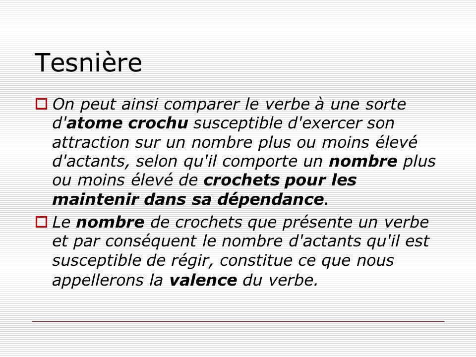 Tesnière On peut ainsi comparer le verbe à une sorte d'atome crochu susceptible d'exercer son attraction sur un nombre plus ou moins élevé d'actants,