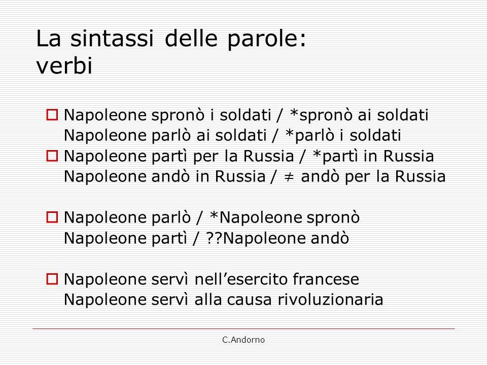 C.Andorno La sintassi delle parole: verbi Napoleone spronò i soldati / *spronò ai soldati Napoleone parlò ai soldati / *parlò i soldati Napoleone part