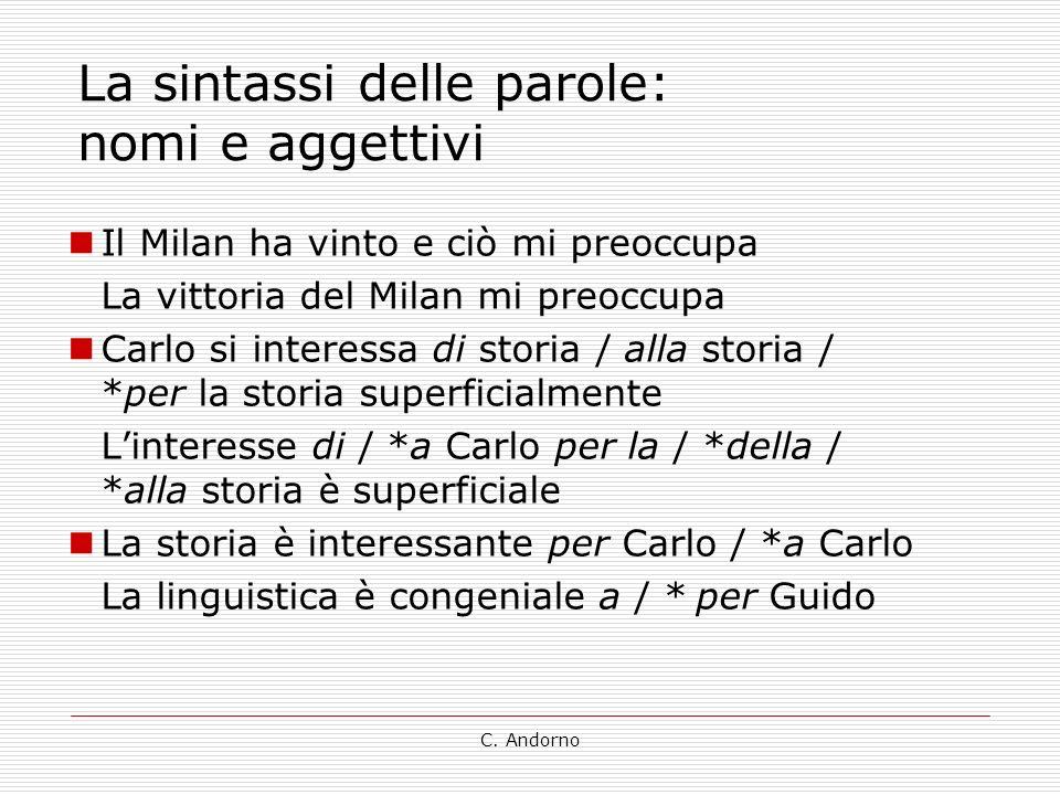 C. Andorno La sintassi delle parole: nomi e aggettivi Il Milan ha vinto e ciò mi preoccupa La vittoria del Milan mi preoccupa Carlo si interessa di st