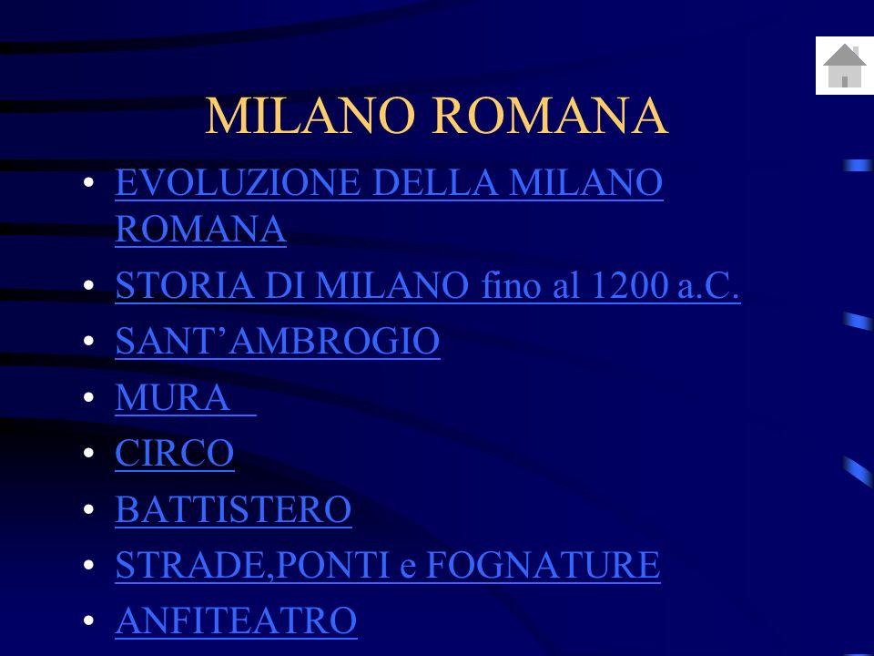 MILANO ROMANA EVOLUZIONE DELLA MILANO ROMANAEVOLUZIONE DELLA MILANO ROMANA STORIA DI MILANO fino al 1200 a.C.