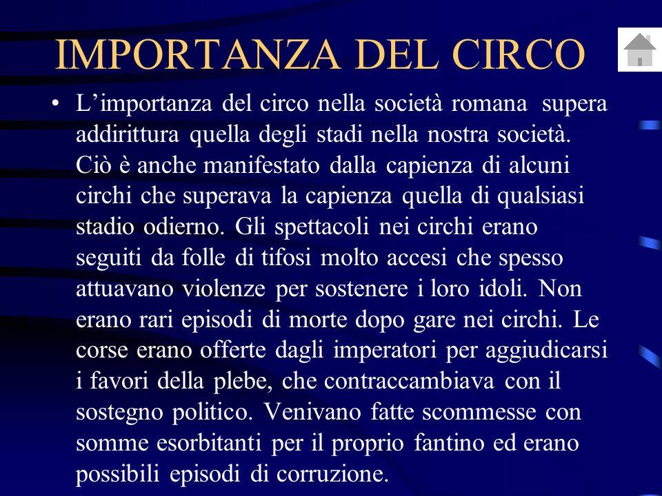 Limportanza del circo nella società romana supera addirittura quella degli stadi nella nostra società.