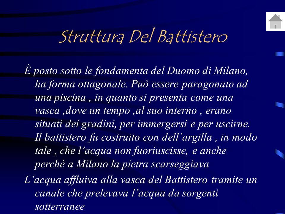 Struttura Del Battistero È posto sotto le fondamenta del Duomo di Milano, ha forma ottagonale.