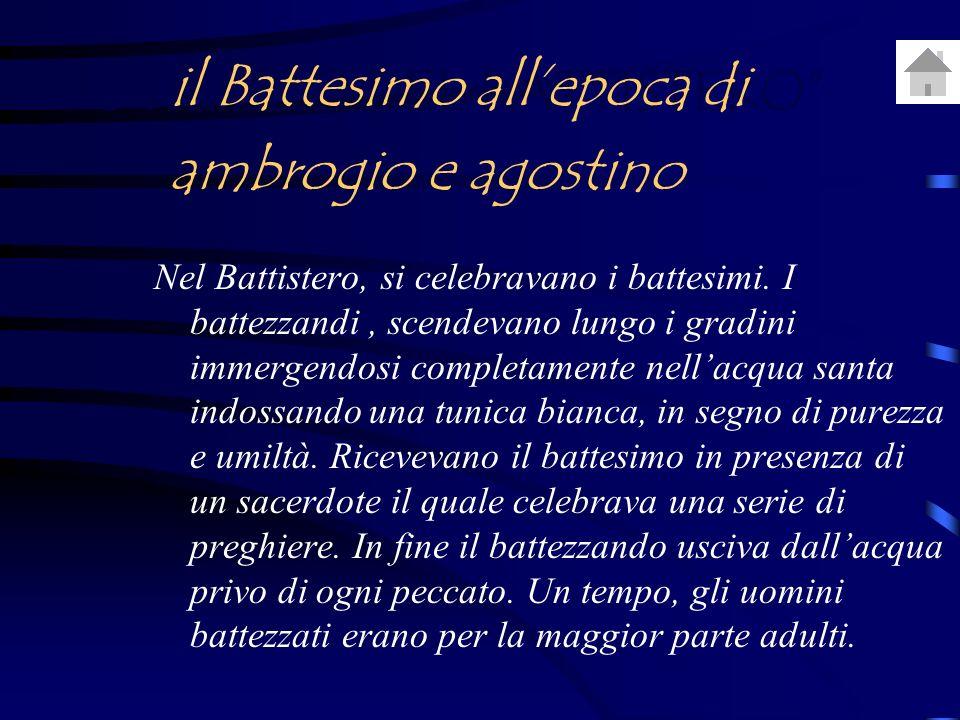 UTILIZZO DEL BATTISTERO Nel Battistero, si celebravano i battesimi.