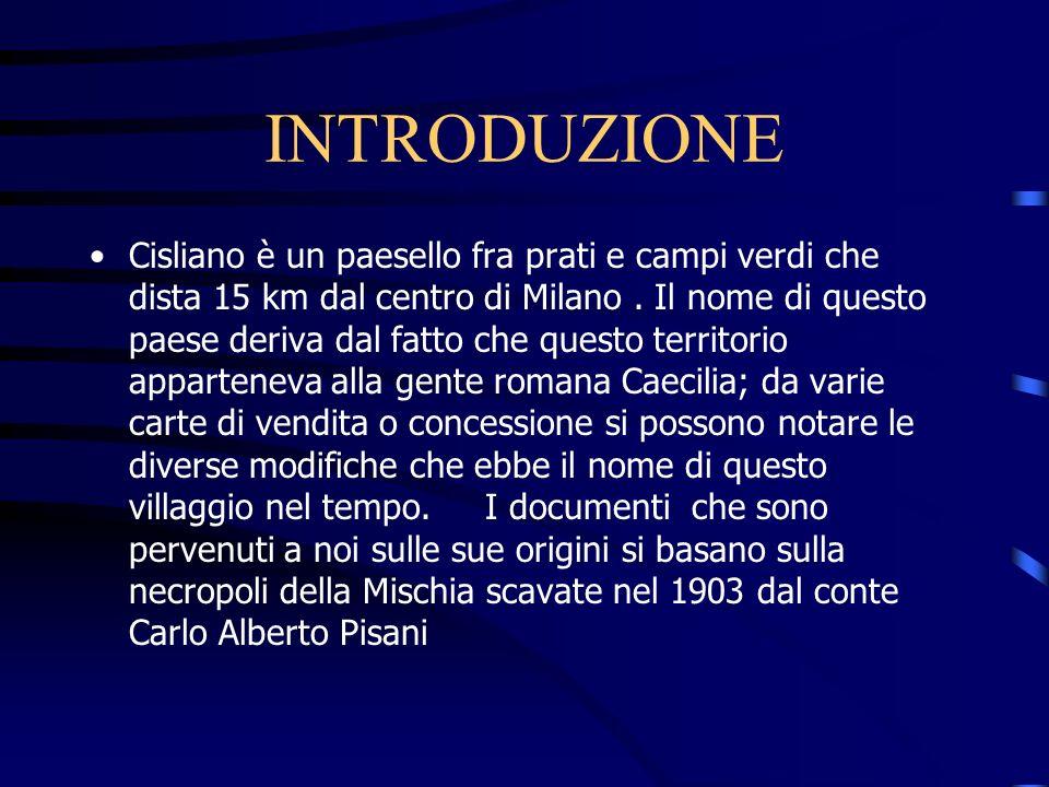 INTRODUZIONE Cisliano è un paesello fra prati e campi verdi che dista 15 km dal centro di Milano.