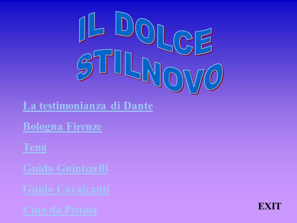 XIII- Madonna mia, quel di chAmor XIV- Si sono angostioso e pien di doglia XV- Pur a pensar mi par gran meraviglia XVI- Fra laltre pene maggio credo sia XVII- Chi vedesse a Lucia un var capuzzo XVIII- Volvol te levi, vecchia rabbiosa XIX (a)- Bonagiunta da Lucca a Messer Guido XIX (b)- Risposta a Bonagiunta da Lucca XX (a)- A frate Guittone XX (b)- Frate Guittone - risposta al sopra scritto GUINIZZELLI GUINIZZELLI HOME PAGE « INDIETROHOME PAGE« INDIETRO