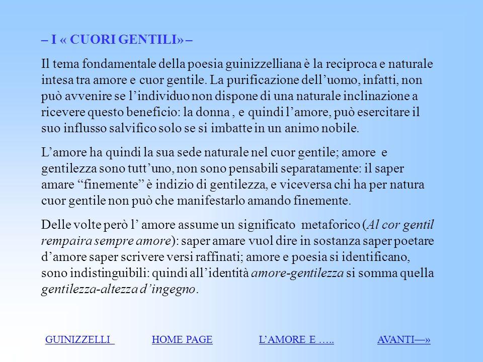 I cuori gentili La sublimazione della donna La donna angelo GUINIZZELLI GUINIZZELLI HOME PAGEHOME PAGE