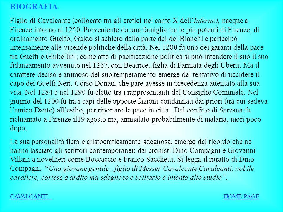 Guido Cavalcanti La vita Le opere Lamore e la donna Altri temi HOME PAGE