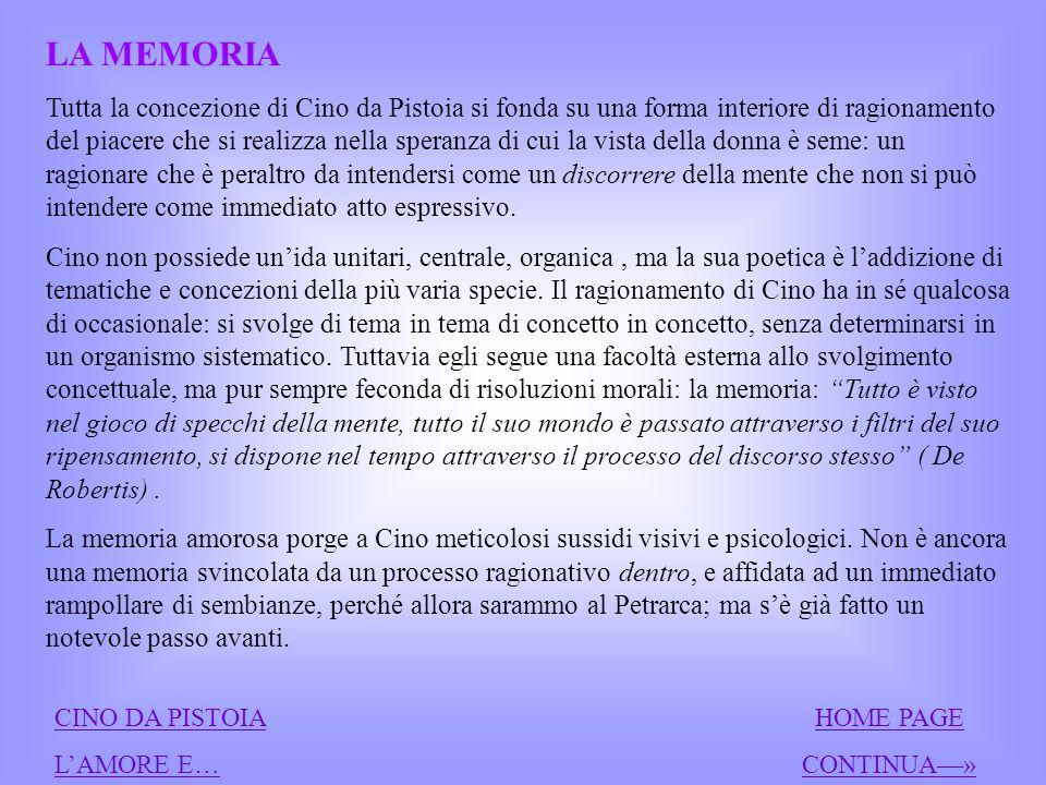 La memoria Lamore e la donna CINO DA PISTOIACINO DA PISTOIA HOME PAGEHOME PAGE