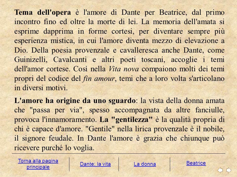 Tema dell'opera è l'amore di Dante per Beatrice, dal primo incontro fino ed oltre la morte di lei. La memoria dell'amata si esprime dapprima in forme