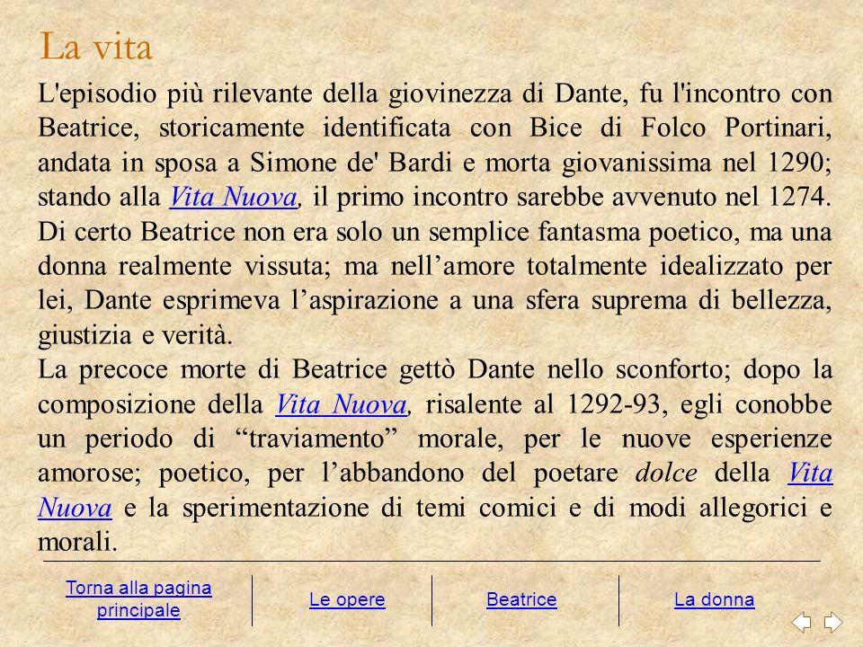 L'episodio più rilevante della giovinezza di Dante, fu l'incontro con Beatrice, storicamente identificata con Bice di Folco Portinari, andata in sposa