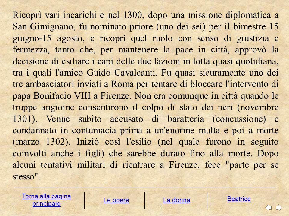 Alla notizia dell elezione al trono imperiale di Enrico VII di Lussemburgo, sperando nella restaurazione della giustizia entro un ordine universale, si avvicinò ai ghibellini, ma la spedizione dell imperatore in Italia fallì.