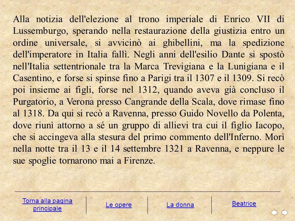 LE OPERE La produzione letteraria di Dante testimonia una vicenda di incessante sperimentazione e riflessione teorica.