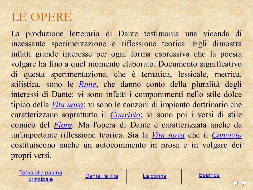 LE OPERE La produzione letteraria di Dante testimonia una vicenda di incessante sperimentazione e riflessione teorica. Egli dimostra infatti grande in