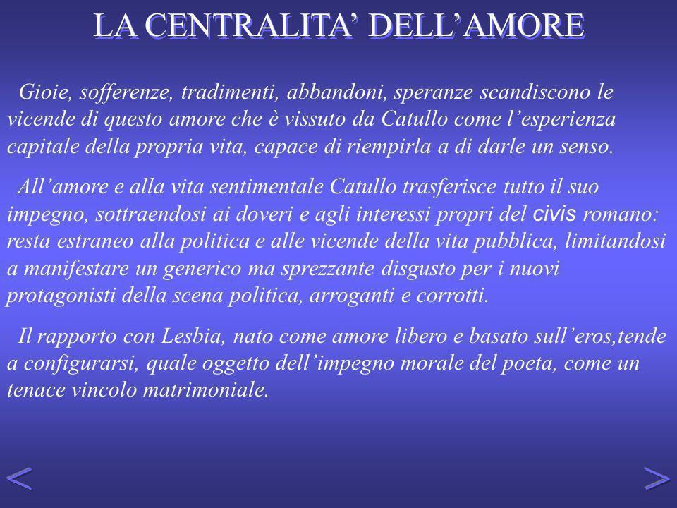 LA POESIA D AMORE PER LESBIA Il centro ideale del Liber Catullanius è nel gruppo di poesie dedicate a Lesbia.