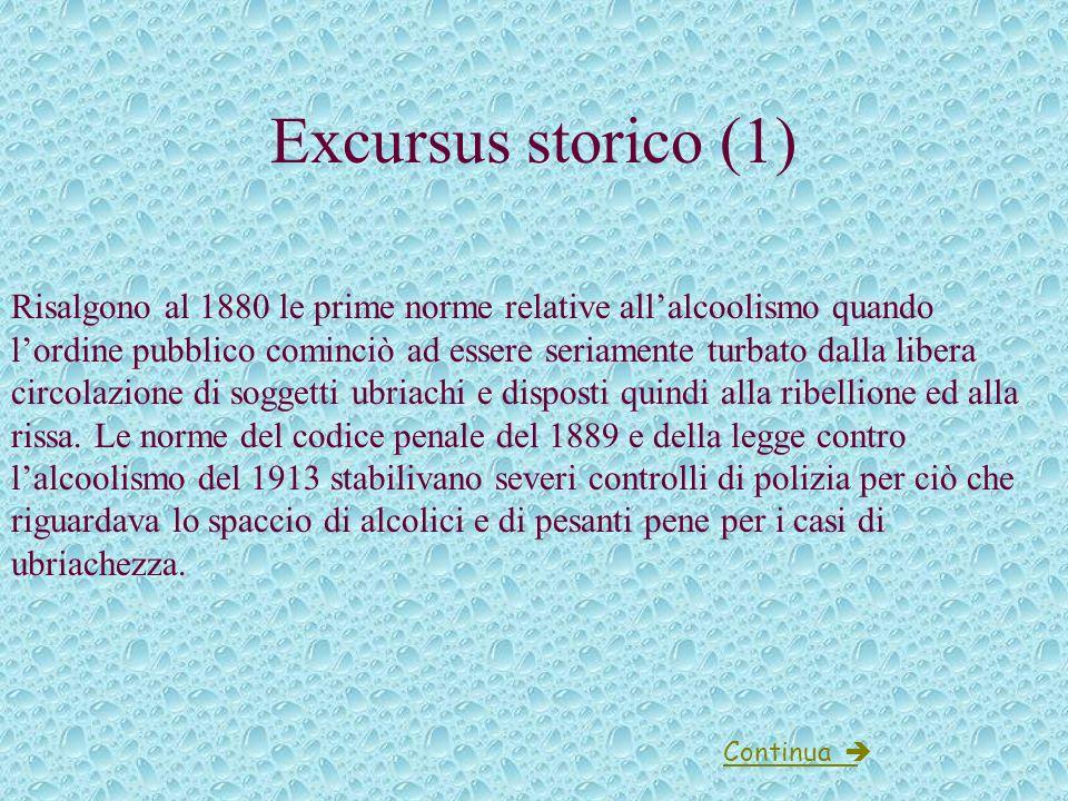 Leggi sullalcolismo Excursus storico Codice penale Codice della strada