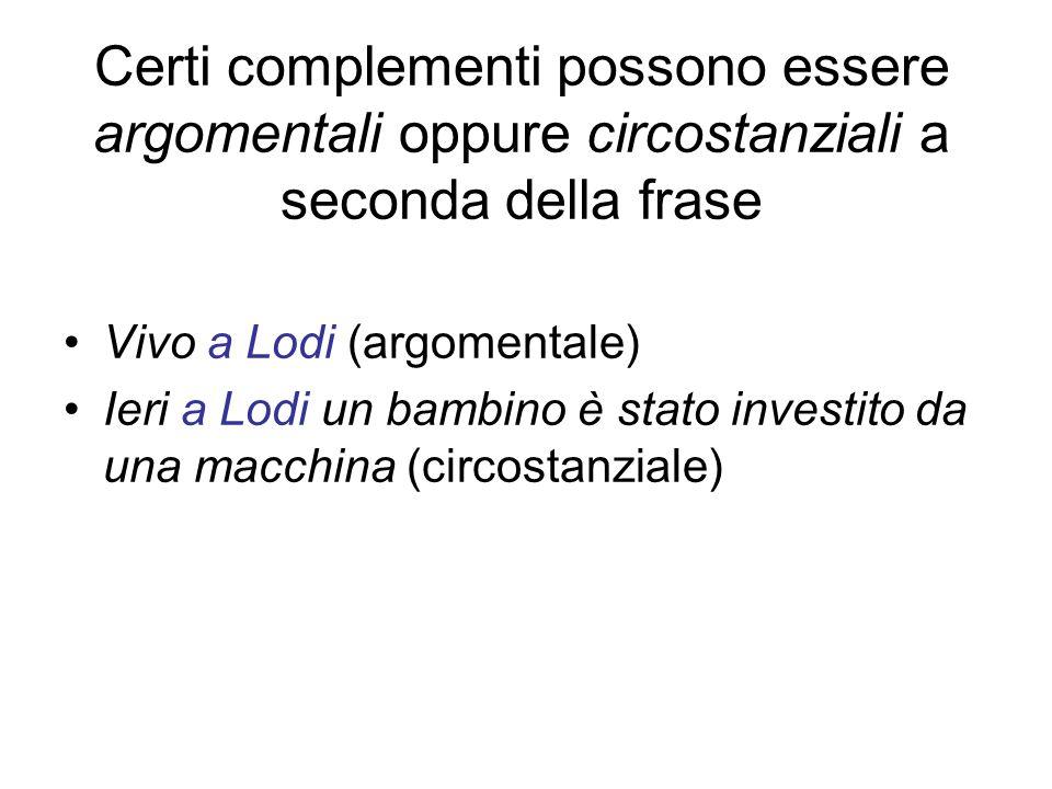 Certi complementi possono essere argomentali oppure circostanziali a seconda della frase Vivo a Lodi (argomentale) Ieri a Lodi un bambino è stato inve