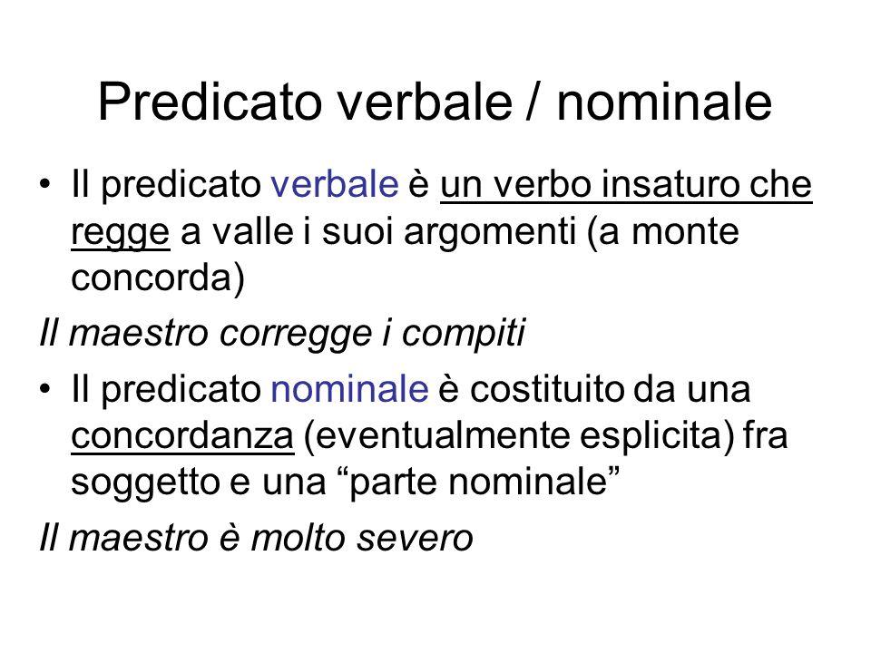 Predicato verbale / nominale Il predicato verbale è un verbo insaturo che regge a valle i suoi argomenti (a monte concorda) Il maestro corregge i comp