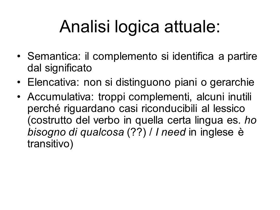 Analisi logica attuale: Semantica: il complemento si identifica a partire dal significato Elencativa: non si distinguono piani o gerarchie Accumulativ
