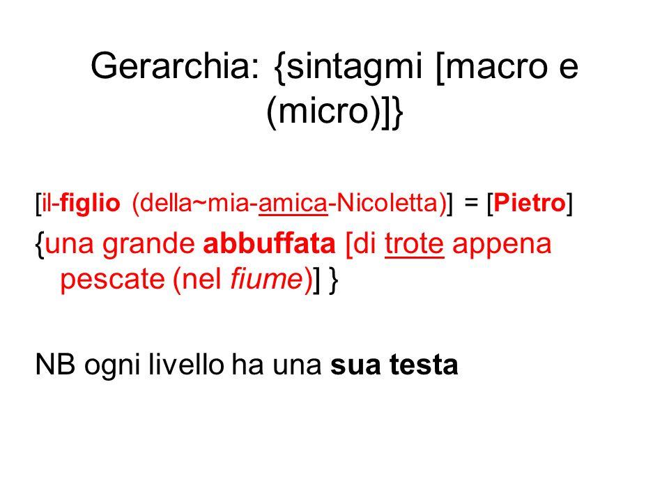 Gerarchia: {sintagmi [macro e (micro)]} [il-figlio (della~mia-amica-Nicoletta)] = [Pietro] {una grande abbuffata [di trote appena pescate (nel fiume)]