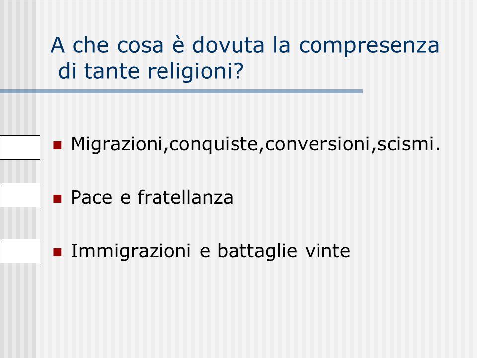 In quali confessioni religiose è divisa la religione cristiana? Luterana e anglicana Induista e buddista Luterana,anglicana,ortodossa e cattolica