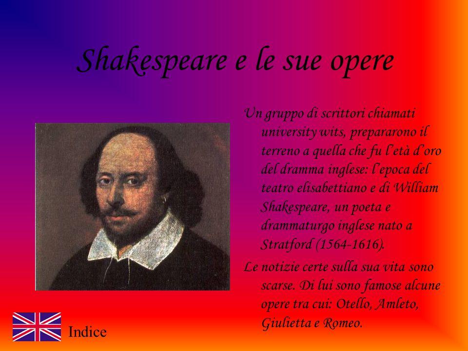 Shakespeare e le sue opere Un gruppo di scrittori chiamati university wits, prepararono il terreno a quella che fu letà doro del dramma inglese: lepoca del teatro elisabettiano e di William Shakespeare, un poeta e drammaturgo inglese nato a Stratford (1564-1616).