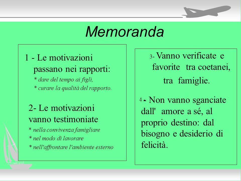 Memoranda 1 - Le motivazioni passano nei rapporti: * dare del tempo ai figli, * curare la qualità del rapporto. 3- Vanno verificate e favorite tra coe