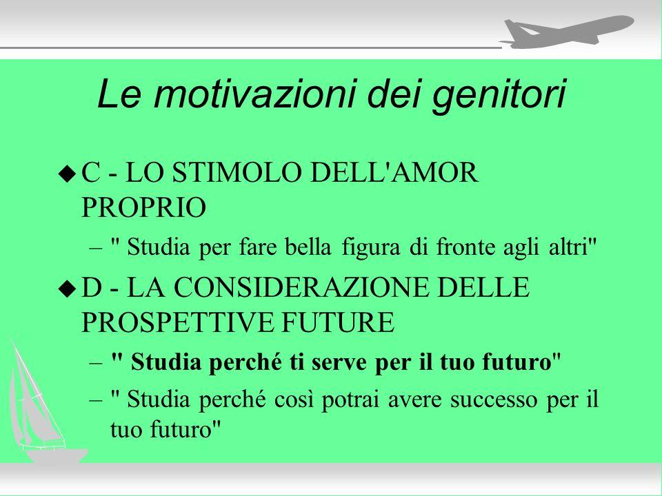 Le motivazioni dei genitori u C - LO STIMOLO DELL'AMOR PROPRIO –