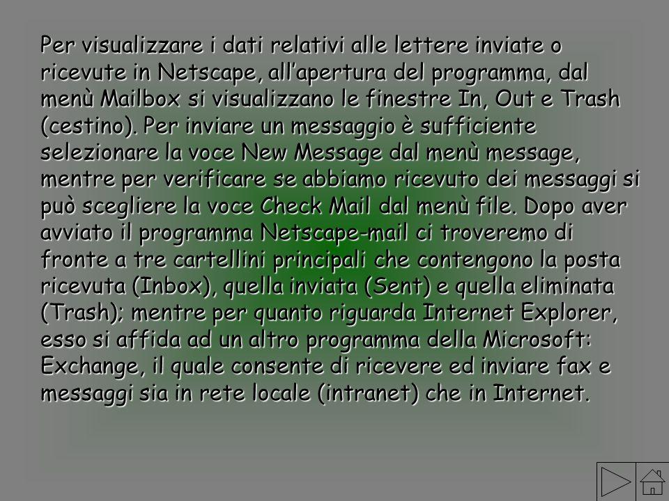 Per visualizzare i dati relativi alle lettere inviate o ricevute in Netscape, allapertura del programma, dal menù Mailbox si visualizzano le finestre
