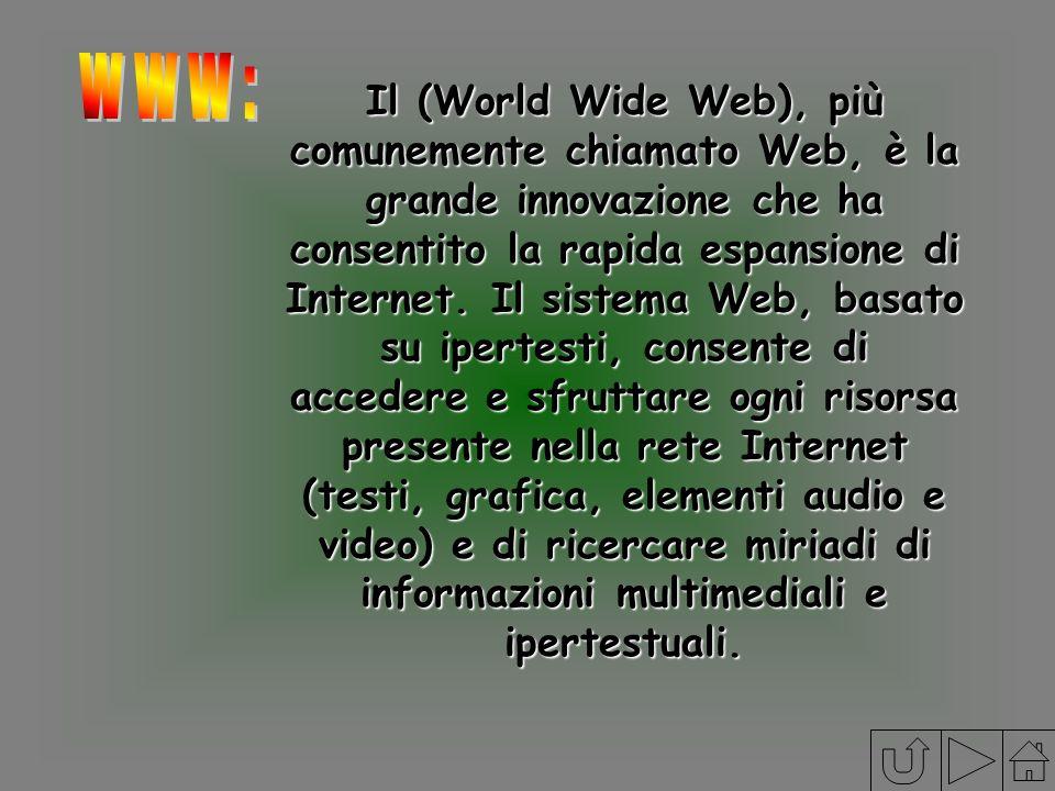 Il (World Wide Web), più comunemente chiamato Web, è la grande innovazione che ha consentito la rapida espansione di Internet. Il sistema Web, basato