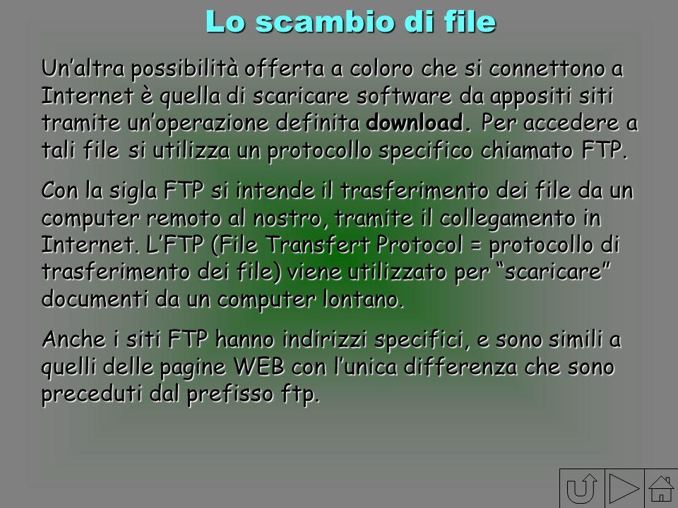 Lo scambio di file Unaltra possibilità offerta a coloro che si connettono a Internet è quella di scaricare software da appositi siti tramite unoperazi