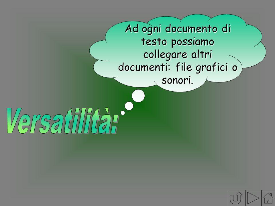 Ad ogni documento di testo possiamo collegare altri documenti: file grafici o sonori.