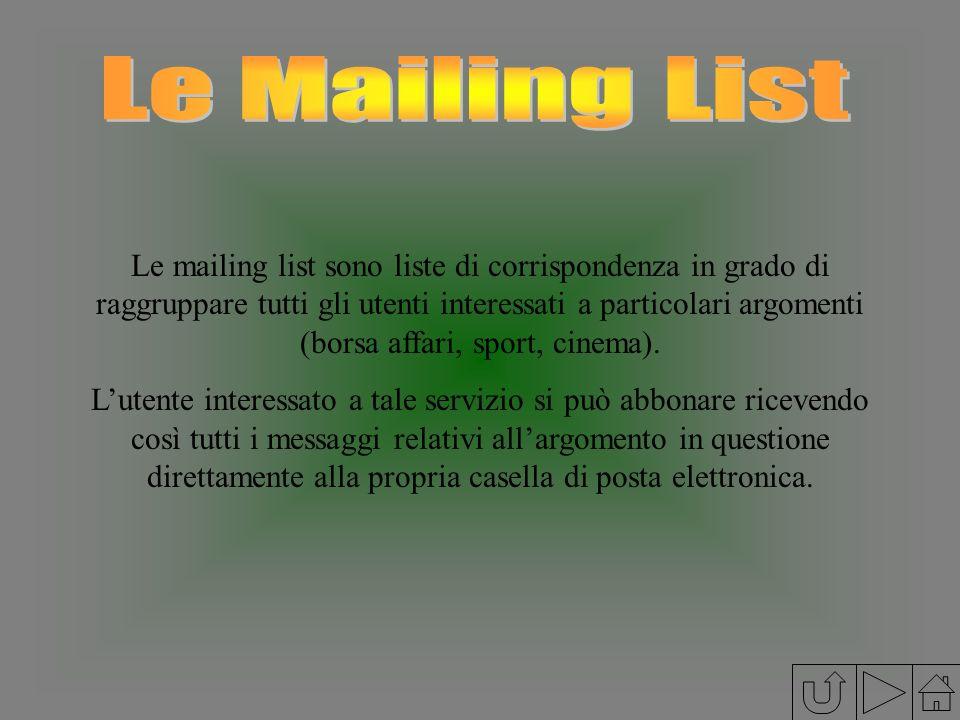 Le mailing list sono liste di corrispondenza in grado di raggruppare tutti gli utenti interessati a particolari argomenti (borsa affari, sport, cinema
