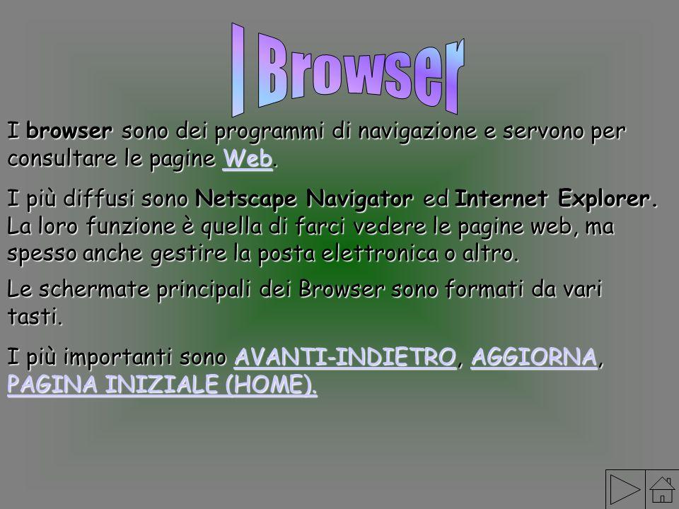 I browser sono dei programmi di navigazione e servono per consultare le pagine Web. Web I più diffusi sono Netscape Navigator ed Internet Explorer. La