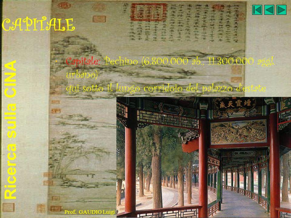 Ricerca sulla CINA Prof. GAUDIO Luigi CAPITALE Capitale: Pechino (6.800.000 ab., 11.300.000 aggl. urbano) qui sotto il lungo corridoio del palazzo des
