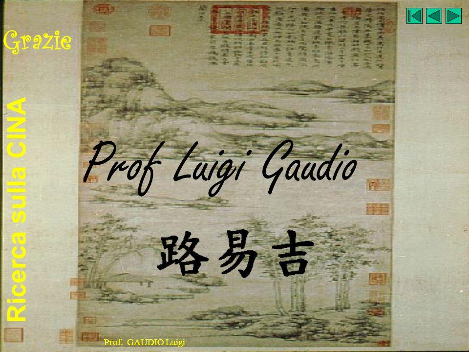 Ricerca sulla CINA Prof. GAUDIO Luigi Grazie Prof Luigi Gaudio