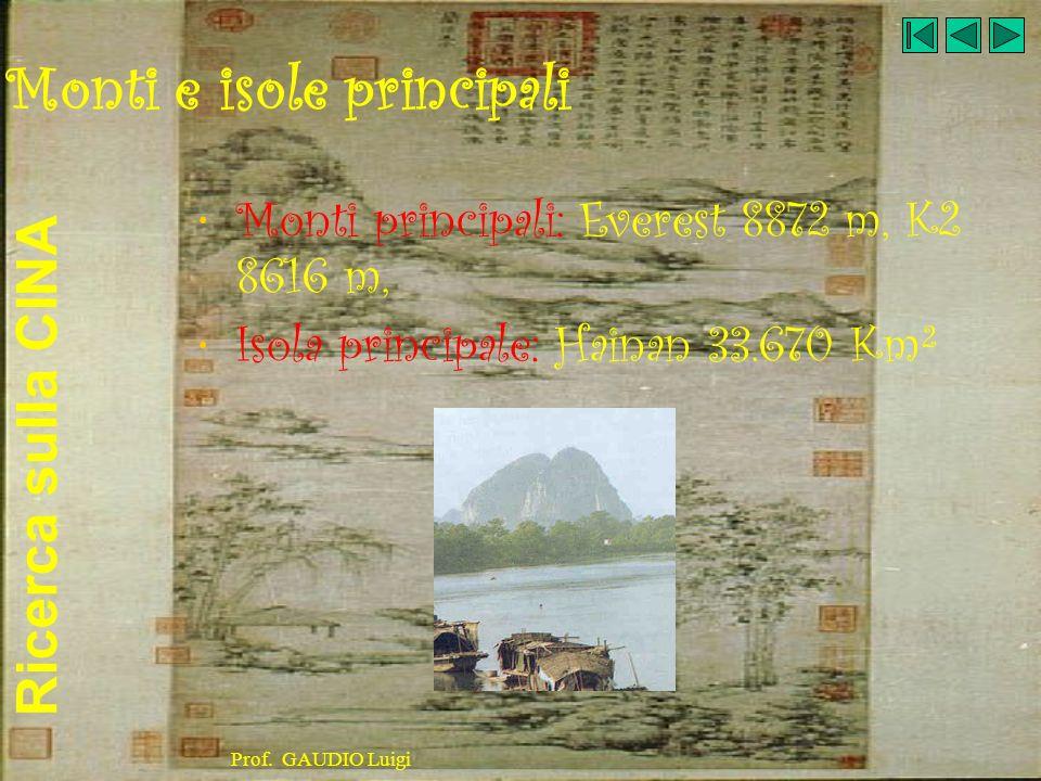 Ricerca sulla CINA Prof.GAUDIO Luigi CAPITALE Capitale: Pechino (6.800.000 ab., 11.300.000 aggl.