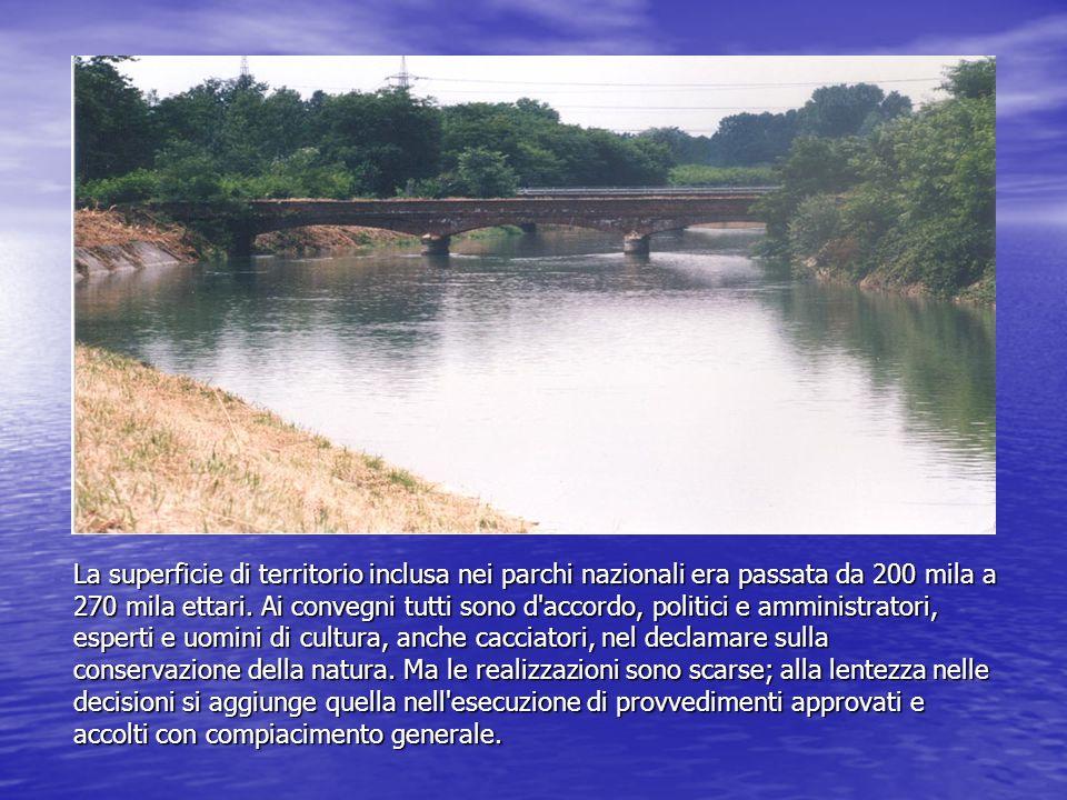 La superficie di territorio inclusa nei parchi nazionali era passata da 200 mila a 270 mila ettari. Ai convegni tutti sono d'accordo, politici e ammin
