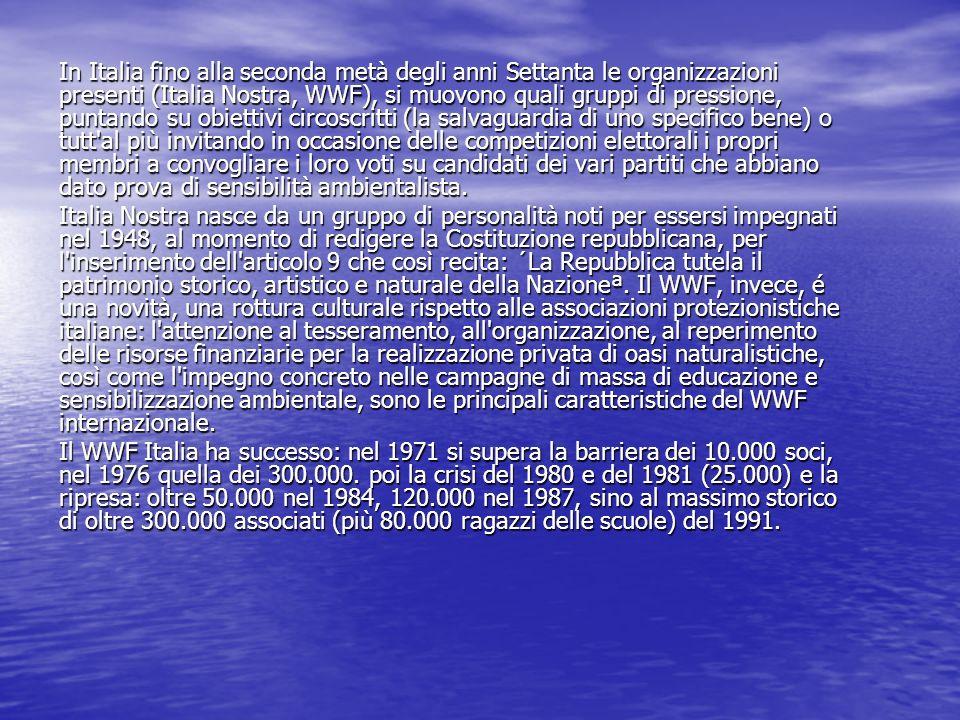 In Italia fino alla seconda metà degli anni Settanta le organizzazioni presenti (Italia Nostra, WWF), si muovono quali gruppi di pressione, puntando s