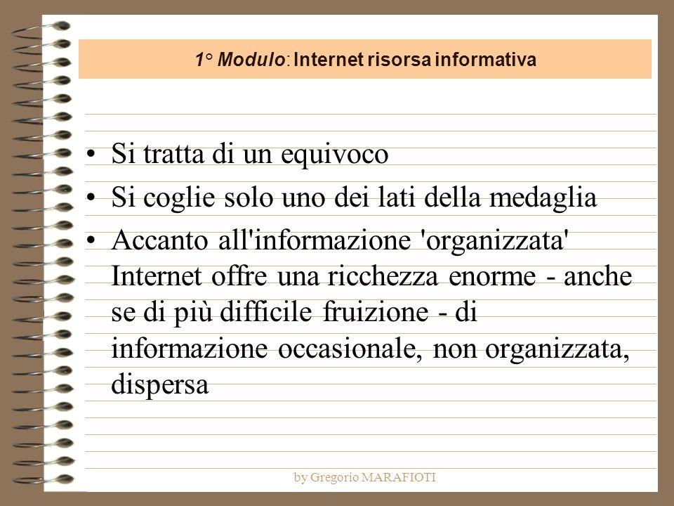by Gregorio MARAFIOTI Si tratta di un equivoco Si coglie solo uno dei lati della medaglia Accanto all informazione organizzata Internet offre una ricchezza enorme - anche se di più difficile fruizione - di informazione occasionale, non organizzata, dispersa 1° Modulo: Internet risorsa informativa