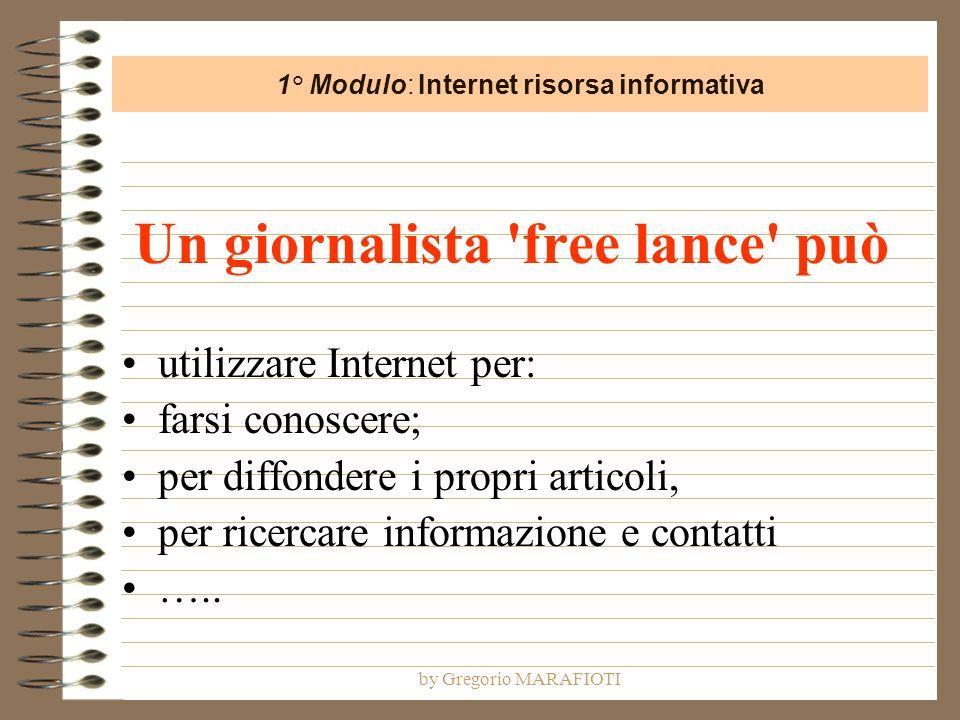 by Gregorio MARAFIOTI Un giornalista free lance può utilizzare Internet per: farsi conoscere; per diffondere i propri articoli, per ricercare informazione e contatti …..