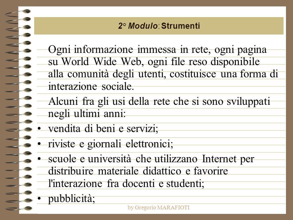 by Gregorio MARAFIOTI Ogni informazione immessa in rete, ogni pagina su World Wide Web, ogni file reso disponibile alla comunità degli utenti, costitu