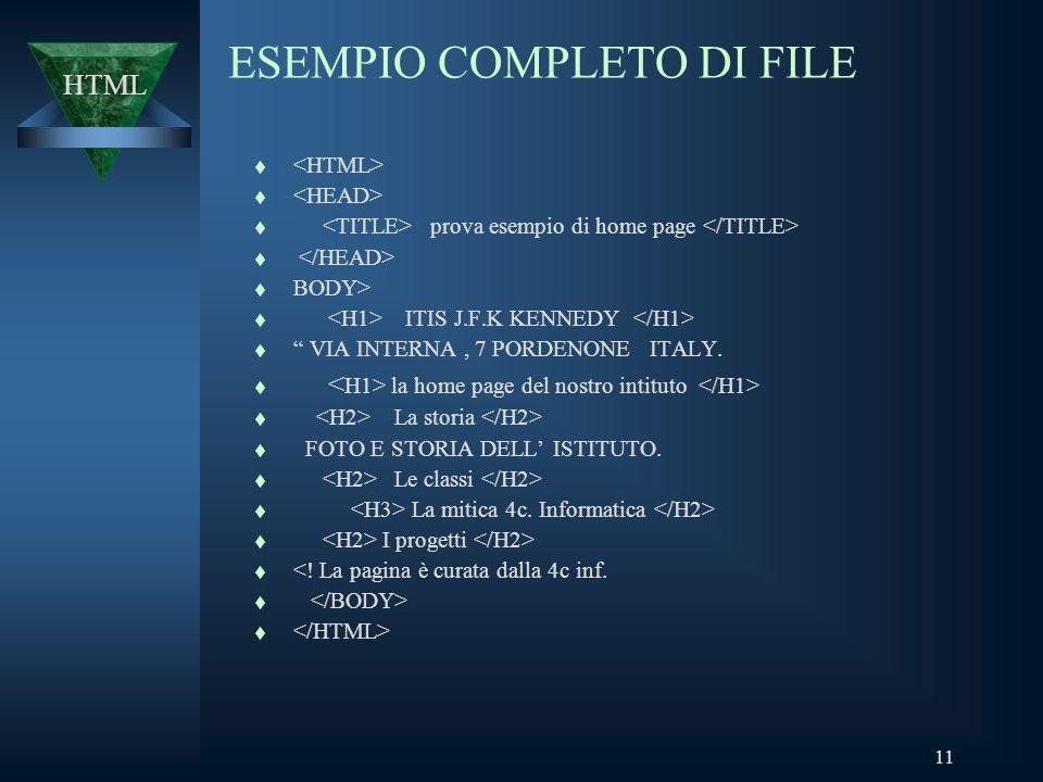 11 ESEMPIO COMPLETO DI FILE t t prova esempio di home page t t BODY> t ITIS J.F.K KENNEDY t VIA INTERNA, 7 PORDENONE ITALY.
