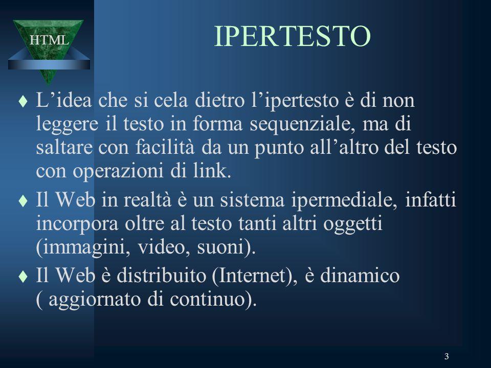 3 IPERTESTO t Lidea che si cela dietro lipertesto è di non leggere il testo in forma sequenziale, ma di saltare con facilità da un punto allaltro del testo con operazioni di link.