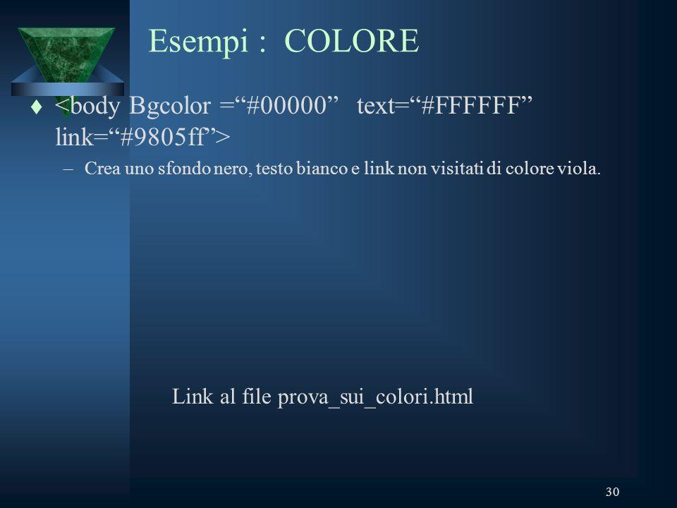 30 Esempi : COLORE t –Crea uno sfondo nero, testo bianco e link non visitati di colore viola.