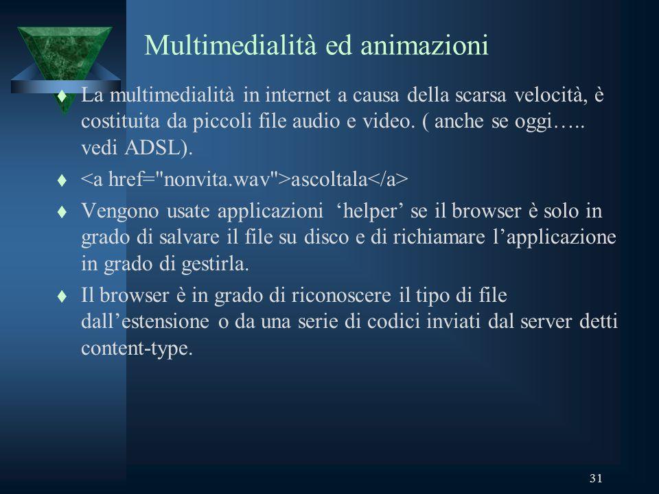 31 Multimedialità ed animazioni t La multimedialità in internet a causa della scarsa velocità, è costituita da piccoli file audio e video.