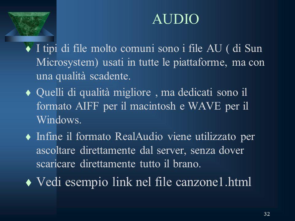 32 AUDIO t I tipi di file molto comuni sono i file AU ( di Sun Microsystem) usati in tutte le piattaforme, ma con una qualità scadente.