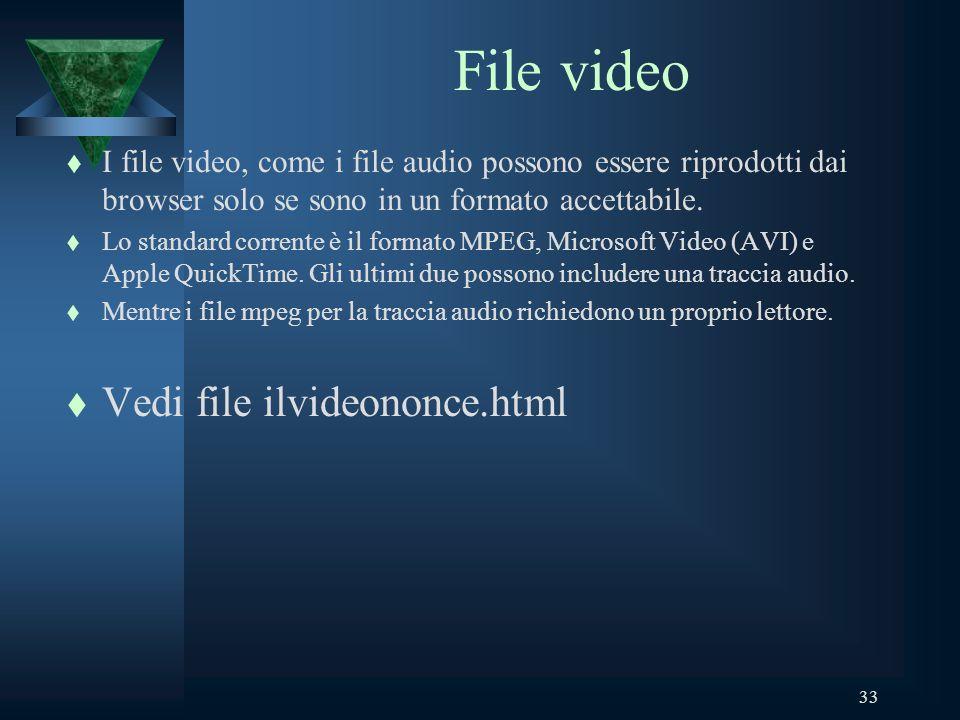 33 File video t I file video, come i file audio possono essere riprodotti dai browser solo se sono in un formato accettabile.