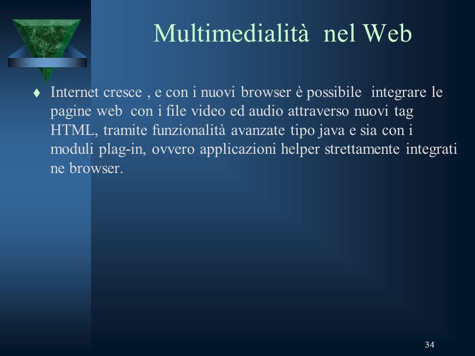 34 Multimedialità nel Web t Internet cresce, e con i nuovi browser è possibile integrare le pagine web con i file video ed audio attraverso nuovi tag HTML, tramite funzionalità avanzate tipo java e sia con i moduli plag-in, ovvero applicazioni helper strettamente integrati ne browser.